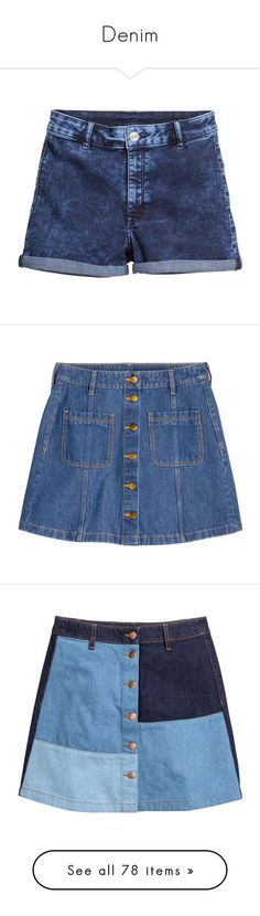 """""""Denim"""" by dear-scone ❤ liked on Polyvore featuring shorts, high-rise shorts, highwaist shorts, h&m shorts, high waisted cuffed shorts, cuffed shorts, skirts, knee length a line skirt, blue skirt and short blue skirt"""
