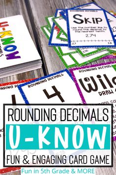 Rounding decimals games are a a ton of fun for practicing and reviewing rounding decimals during math centers or small group! 5th grade students will love this engaging and fun math card game. Works on rounding decimals to nearest tenth, nearest hundredth, nearest whole number and rounding on a number line. This game reviews math skills repetitively and spiral the review. Rounding decimals UKNOW game can be used during distance learning as well, as it is easy print and go! Decimal Games, Rounding Decimals, Math Card Games, Review Games, Simple Prints, Math Skills, Upper Elementary, 5th Grades, Fun Math