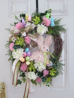 Easter Door Wreath Easter Wreath Spring Wreath Front Door Wreath Easter Bunny Easter Eggs Pastel Colors Easter Holiday Decoration