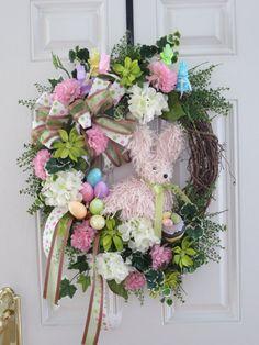 Easter Door Wreath Easter Wreath Spring Wreath by hollyhillwreaths