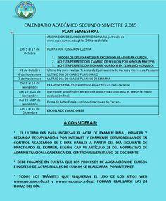 Este es el Calendario Académico del Segundo Semestre 2015.