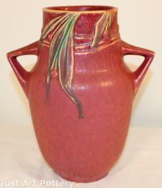 ◭ Penchant for Pottery ◮ Roseville Pottery Velmoss II Rose Vase 719-9 from Just Art Pottery