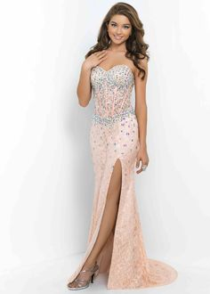 2015 Corset Style Beaded Coral Pink Nude Lace Side Slit Prom Dress