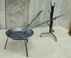 Fireplace Accessories, Cookware Welded Metal Projects, Blacksmith Projects, Welding Projects, Primitive Fireplace, Fireplace Tools, Fire Cooking, Outdoor Cooking, Camping Cooker, Blacksmith Shop