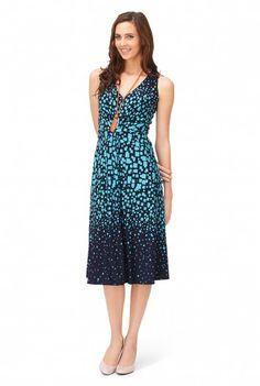 V Neck Square Print Dress