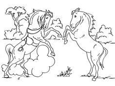 Horses at water trough - Lots of coloring pages on this ...