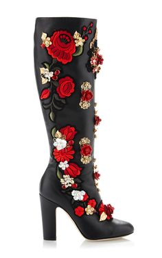 Rose Embroidered High Nappa Boot by Dolce & Gabbana for Preorder on Moda Operandi
