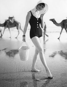 Photo: Herman Landshoff for Mademoiselle, 1958. Model: Sondra Peterson. Maspalomas Beach, Canary Islands.
