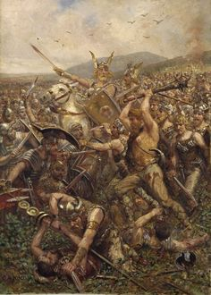 """Germanic warriors storm the field, Varusschlacht, Otto Albert Koch,1909. From an excerpt from """"Creation of Heroic Myth in the Saga of Teutoburg"""" for Mythology Magazine. www.mythologymagazine.com"""