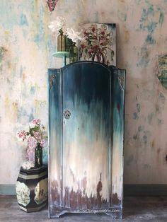 Rustic Bohemian Armoire blue white #paintedfurniture #Affiliate #furniture