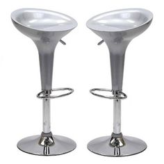 LexMod Ice Cream Bar Stool in Silver Set of 2