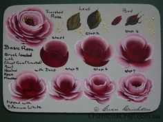 instruction to paint folk art roses | step by step now load the ½ angle shader brush