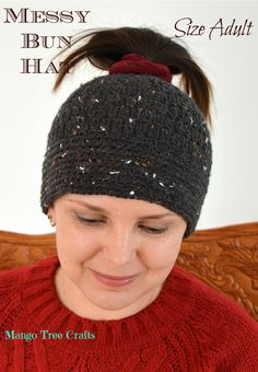 Messy Bun Hat Crochet Pattern for Adult