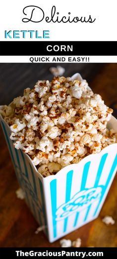 This kettle corn recipe is just like the kind you get at a carnival! (But shhh!!! It uses two secret ingredients to get it's carnival-like flavor that most people wouldn't suspect. Dairy Free Recipes, Real Food Recipes, Snack Recipes, Dessert Recipes, Clean Eating Snacks, Clean Eating Recipes, Healthy Snacks, Homemade Kettle Corn, Eating Games