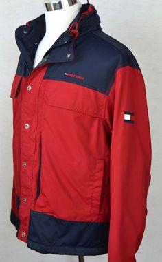 Vintage 90's Tommy Hilfiger Color Block fleece lined coat parka jacket Large #TommyHilfiger #BasicJacket