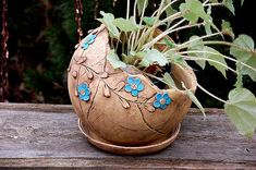 Options for DIY Garden Globes : Options for DIY Garden Globes - If you like to spend time in your garden, then you should also look for it maintenance and beautification. There are many different ideas through whic. Hand Built Pottery, Slab Pottery, Ceramic Pottery, Ceramic Flower Pots, Ceramic Planters, Ceramic Clay, Ceramic Vase, Garden Globes, Painted Gourds
