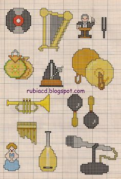Fabinha Gráficos Para Bordados: Instrumentos Musicais