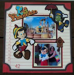 Disney Scrapbook Pages, Scrapbook Page Layouts, Scrapbook Cards, Scrapbooking Ideas, Scrapbook Templates, Disney Mouse, Disney Mickey, Disney Pixar, Pinocchio Disney
