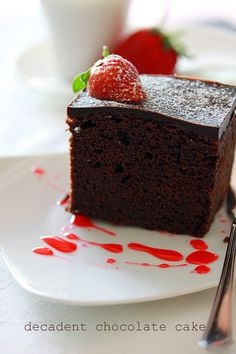 Chocolate Cake with strawberry sauce, perfect dessert for your romantic V-day dinner | rasamalaysia.com