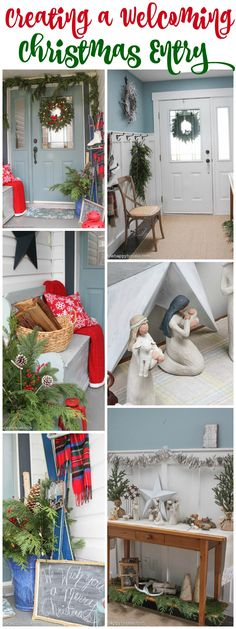Creating a Welcoming Christmas Entry - A Very Merry Christmas Home Tour of our Front Porch and Entry Hall at thehappyhousie.com