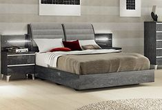 d13a759e1509 Exceptional Italian Birch Grey Bedroom Set with Storage Headboard - Enhance  your home decor with this elegant bedroom set.