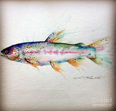 Shop for trout art from the world's greatest living artists. All trout artwork ships within 48 hours and includes a money-back guarantee. Choose your favorite trout designs and purchase them as wall art, home decor, phone cases, tote bags, and more! Watercolor Tattoo, Watercolor Paintings, Fish Paintings, Gouache Painting, Watercolours, Trout Tattoo, Salmon Tattoo, Tattoo Fish, Kunst Poster