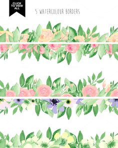 173 summer watercolor flowers by Mary Kate on @creativemarket