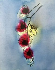 ARTFINDER: Orchid Study 004 by Bo Lanyon - A larger study of a single stem of Orchid flowers, here the intense scarlet colouring blooms out into the study itself, the ink flowing over and across the f...