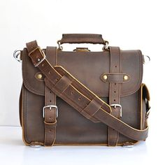 Classic Handmade Mens Leather Briefcase Men by SolidLeatherCo