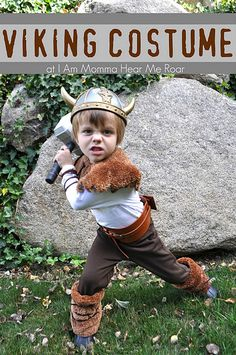 """DIY Viking Costume - laughed when I saw what the """"fur"""" was made out of.  Very creative."""