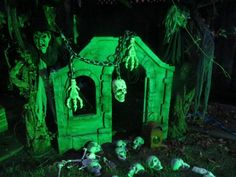 Child's play house becomes a witch  scene for Halloween