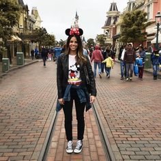 What People Wear To Disney Parks Around The World #refinery29  http://www.refinery29.com/disney-world-outfits#slide-5  Tiffany from @blogcalledjacq proves you don't have to sacrifice French-girl style while running around Disneyland Paris....
