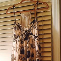 """LOFT BUTTERFLY PRINT RACERBACK CAMI DRESS LOFT cream & black (Vanilla Frosting) mid-length butterfly pattern dress.  1/4"""" straps with a semi- T back.  Fully (cream color) lined.  Material:  100% Polyester LOFT Dresses Midi"""