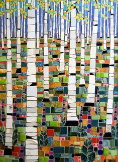 "Michael Sweere Mosaic Company ""Birches and Lupines"" Glass, stone and ceramic tile mosaic x Mosaic Crafts, Mosaic Projects, Mosaic Art, Mosaic Glass, Mosaic Tiles, Stained Glass, Glass Art, Art Projects, Gaudi Mosaic"