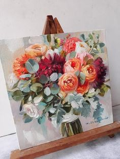 Bridal flowers portraits painting canvas original art Custom wedding bouquet painting Anniversary gift for her Romantic memory Flowers - Anniversary Oil Painting On Canvas, Canvas Art, Flower Paintings On Canvas, Floral Paintings, Oil Painting Flowers, Art Sur Toile, Arte Floral, Bridal Flowers, Bouquet Flowers