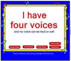 Four Voices Kindergarten lesson for the SMARTBoard