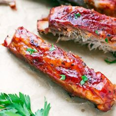Oven Baked St Louis Style Ribs Recipe - made in the oven, covered in bbq sauce, these ribs are so tender, sticky and delicious! Saint Louis Ribs, St Louis Style Ribs, Pork Ribs, Pork Spare Ribs, Ribs Recipe Oven, Ribs In Oven, Fries Recipe, Beef Recipes, Soup Recipes