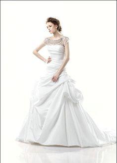 A Line Cathedral Train Beaded ASYM Satin Unique Neckline Gorgeous Wedding Dress