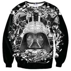 Womens Funny Star Wars B&W  Printed Sweatshirt Black (63 BRL) ❤ liked on Polyvore featuring tops, star wars and black