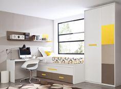 Dormitorio Compacto con cama oculta extraíble y juego de cajones. Fabricado en tonos claros por Rimobel.