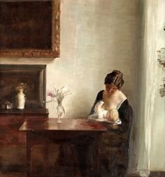 Holsoe interior with woman and child - Carl Holsøe - Interieur met vrouw en kind