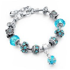 European Style Authentic Tibetan Silver Blue Crystal Charm Bracelet