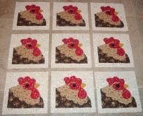 9 Rooster Chicken Quilt Top Blocks   ...Free Shipping...