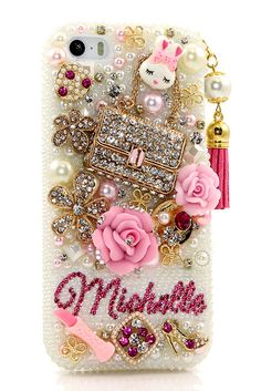 Pearls and Purse Personalized Name & Initials Design iPhone 5S bling case vintage phone cover accessories lifeproof for women