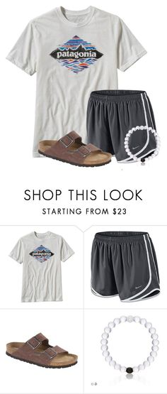 """""""Good Morning!"""" by flroasburn ❤ liked on Polyvore featuring Patagonia, NIKE and Birkenstock"""