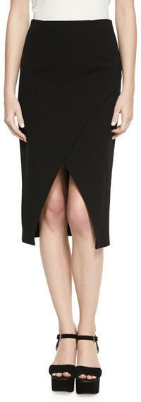 Alice + Olivia Denby Crossover Crepe Pencil Skirt