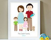 Custom Portrait, Family of Five and Pet, Family Portrait, New Baby