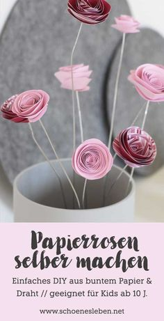 Fixed spring crafts: make paper flowers yourself - beautiful . Make paper roses yourself I simple DIY I suitable for children from 10 years - How To Make Paper Flowers, Large Paper Flowers, Paper Roses, Diy Flowers, Pot Mason Diy, Mason Jar Crafts, Bottle Crafts, Flores Diy, Diy Paper