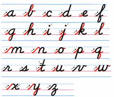 D'Nealian Manuscript - the cursive version. Just some entry strokes (red) changes most of the printed style to cursive. Teaching Cursive Writing, Cursive Writing Worksheets, Cursive Handwriting Practice, Handwriting Alphabet, Improve Your Handwriting, Handwriting Analysis, Writing Skills, Learn Cursive, Hand Writing