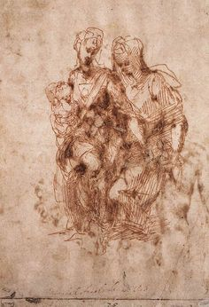 St.Anne with Virgin and Child Christ 1502. Michelangelo - WikiPaintings.org